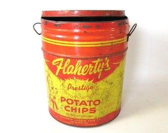 Vintage Chip Bucket, Metal Pal, Potato Chip