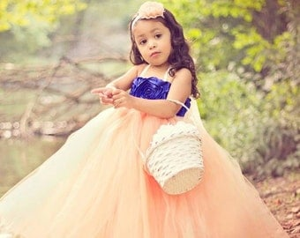 Navy and Coral Flower Girl Tutu Dress with navy rose top and lace accent