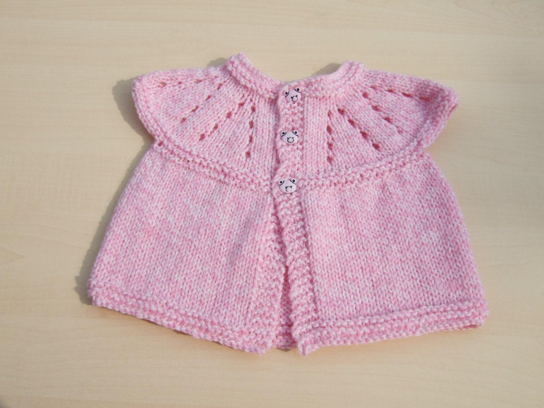 Sleeveless Cardigan Knitting Pattern : Baby sleeveless cardigan hand knitted in pink and cream mix