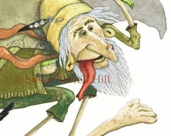Tiddy Mun Fairy - original watercolor painting - surreal fantasy fairytale watercolour - green man folklore - folktale illustration