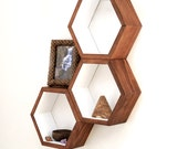 Honeycomb Cubby Shelves - Wall Shelving - Geometric Hexagon Shelves - Modern Eco Friendly Home Decor - Set of 3 Custom Shelves - HaaseHandcraft