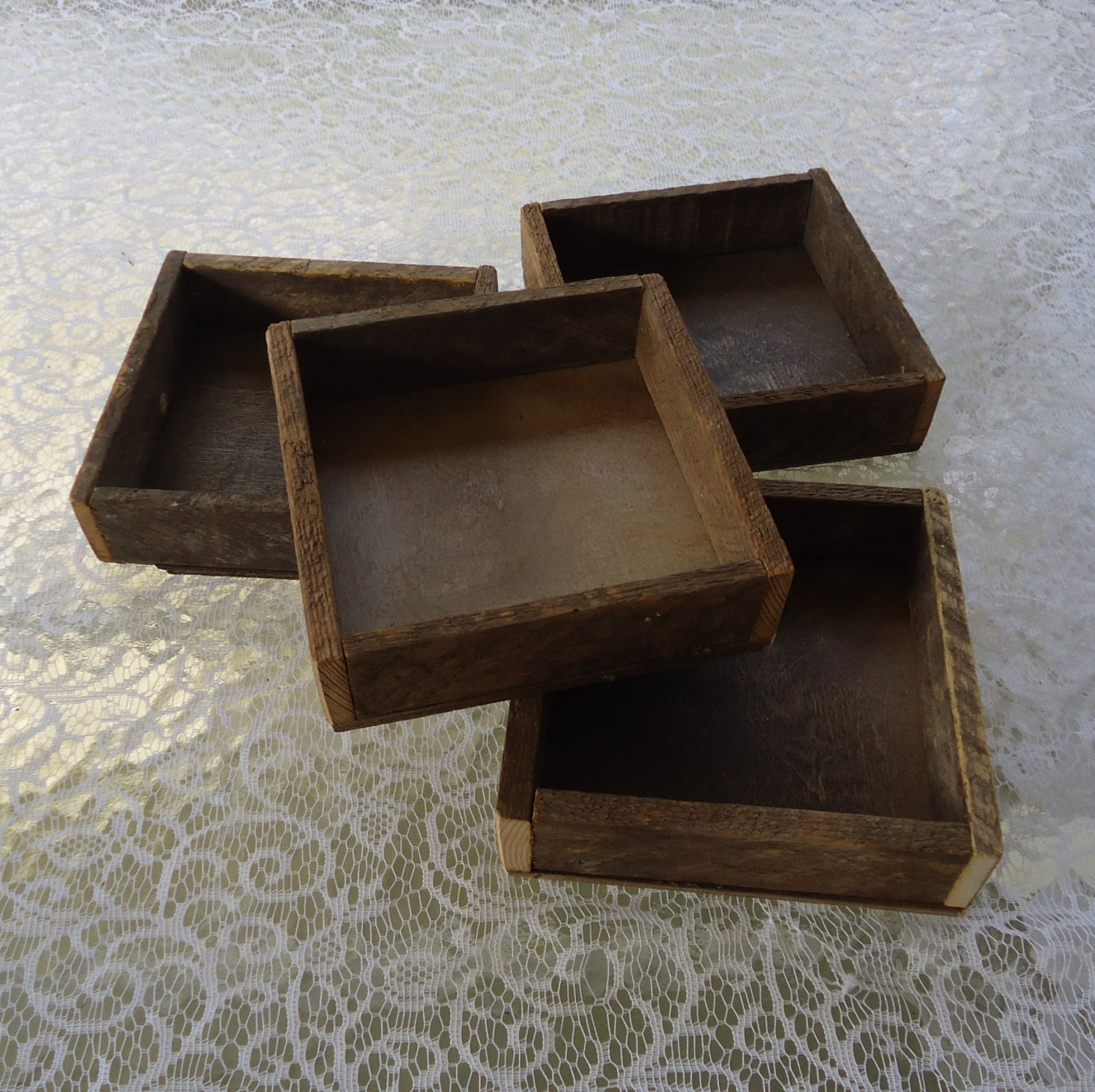 Wood box reclaimed tray rustic wedding centerpiece