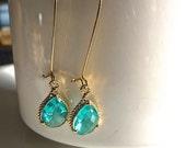 Aquamarine Seafoam Green Mint  Teardrop Textured Gold Bezel Dangle Earrings Modern gifts for her. Bridesmaids jewelry.