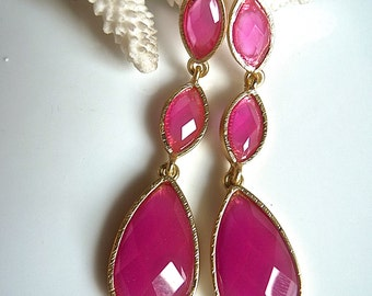 Hot Fuchsia Raspberry Pink Trio Long Teardrop Dangle Earrings.  Hot pink Raspberry Jewelry. Bridesmaids gifts.