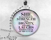 BIBLE SCRIPTURE QUOTE Necklace, Proverbs 31:25, She Is Clothed In Strength, Christian Jewelry, Glass Photo Art Necklace, Religious Jewelry