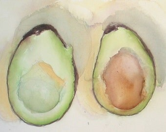 "Avocado -Watercolor Still Life Painting 10x14"" Original Artwork, fruit, vegetable, kitchen art"