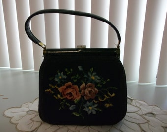 Vintage Navy Needlepoint Handbag