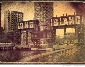 Long Island City, Queens, Vintage, LIC, Skyline, Photography, sepia, NYC, Gantries, Piers