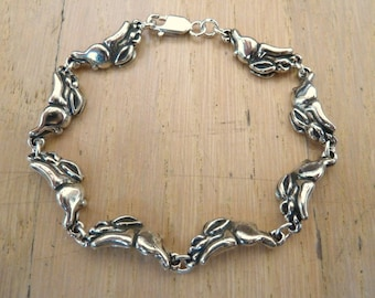 Sterling Silver Racing Rabbit Hare Bunny Bracelet