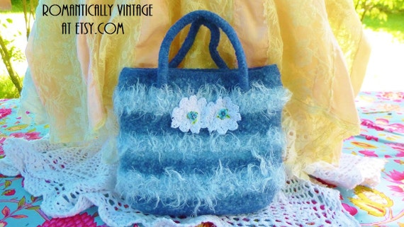 Altered Blue Flower Handbag, Felted, Cottage Chic Style, Beach Bag, Outdoor Wedding, Gift for Her, Resort Wear