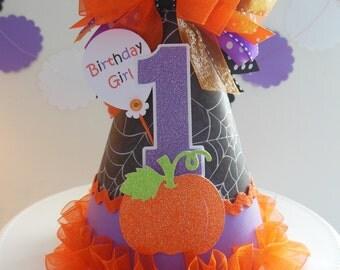 Lil' Pumpkin Halloween Party Hat - 1st Birthday - Halloween- Personalized