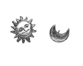 Sun and Moon Earrings, Sun and Moon Earrings, Graduation Gift, Mismatched Earrings, Sun Earrings, Moon Earrings, Simple Silver Earrings