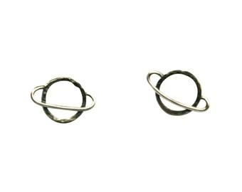Saturn Earrings, Planet Earrings, Saturn Earrings, Silver Earrings, Unique Earrings, Space Earrings, Quirky Earrings, Small Silver Earrings