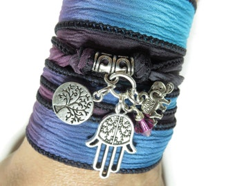 Tree Of Life Namaste Silk Wrap Bracelet Hamsa Yoga Jewelry Elephant Bohemian Wrist Wrap Bracelet Spiritual Jewelry Birthday Unique Gift