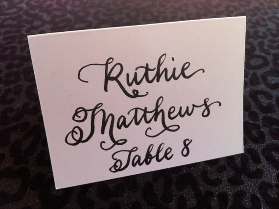 PLACE cards and ESCORT cards in Custom Calligraphy for Wedding, Bridal and Baby Shower, Bar and Bat Mitzvah, and Special Occasion