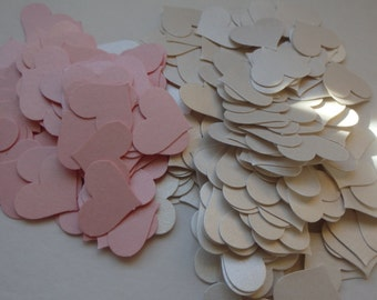 300 pink and white confetti hearts