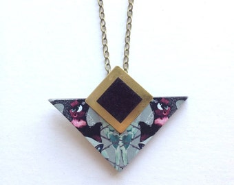 Triangle Geometric Necklace Blue Patterned - Laser Cut Wood Geometric Jewellery Triangle Jewellery