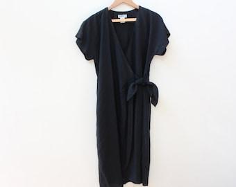 Minimal Black 90s Wrap Dress