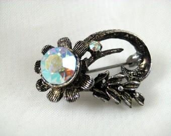 Vintage Signed BILLARD Dark Silver AB Aurora Borealis Flower Brooch Pin