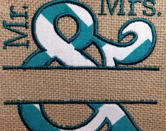 Mr & Mrs Split Applique 5 sizes ampersand Pattern in Machine Embroidery Design File