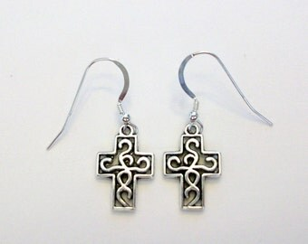 "Celtic cross earrings on Sterling Silver french hook ear wires.  Cross charms are about 3/4"" tall and silver plated."
