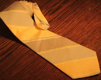 "Vintage Dellacroce Neck Tie, Peach/Blue/Grey, 56.5"" Long/3.25"" Wide, Short and Skinny, Striped"