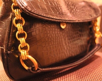Vintage black purse with gold chain