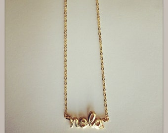 "Gold Plated ""NOLA"" Charm Necklace, with 1.8mm Flat Oval Cable Chain"