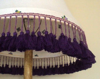 Fabulous handmade re-covered standard lampshade in vintage linen with violet tassel fringe