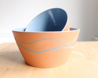 Rustic modern collection Blue and Terracota pottery bowl Unique home decor - Ready made