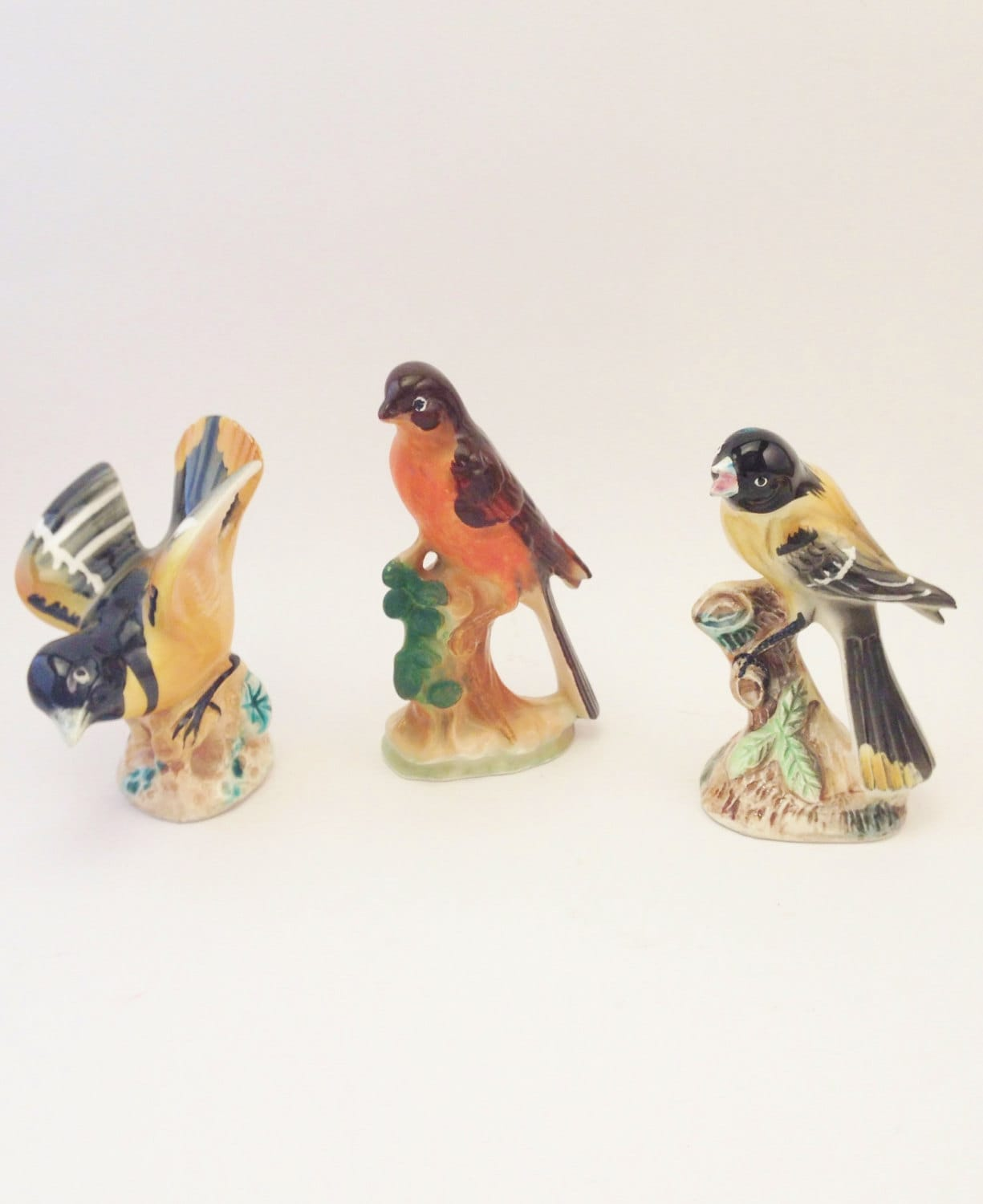 Bird Figurines Vintage Ceramic Birds Orange Yellow Black