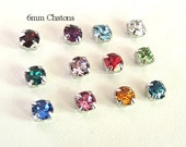 Swarovski Birthstone Mix 6mm, Lot of 12, SS29, Swarovski Chaton Montees, Xirus 1088 SS29, Sew On Rhinestones, Swarovski Birthstone Colors