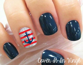 Anchor and Strips Nail Decals - Set of 80