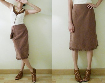 Vintage Brown Caramel suede look fringe skirt, knee Western Skirt,COWGIRL COSTUME,high waist, a line,side zipper closure,made in Japan, XS-S