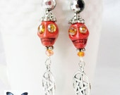 Mambo Priestess Voodoo Swarovski Howlite Skull Earrings- READY TO SHIP! - CreativelyCharmedET