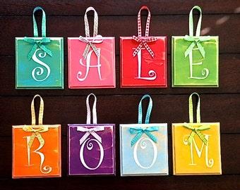 Wood Hanging Block Letters - Alphabet - Name Wood Sign - Nursery - Kids Room - Business or Shop-Weddings