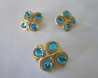 Artist Signed Monet Set Blue Moonglow Brooch Pin & Earrings Lovely