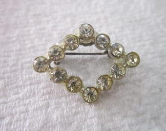 Vintage White Rhinestone Diamond shaped Brooch