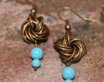 Handmade Oxidized Bronze Chainmaille Rosette Earrings with Swarovski Crystal Pearls