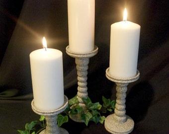 Stone Pebble Pillar Candle Holders set of 3