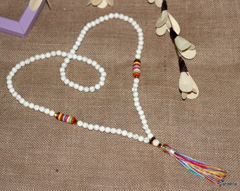 N653 - Long Tassel Necklace - Cream beads, Colorful Tassel - Long Beaded Tassel Necklace - Boho Jewelry - Claribella