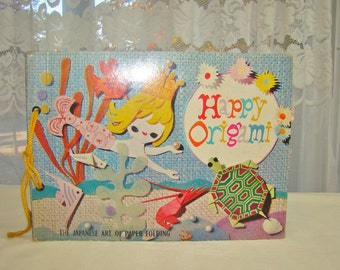 "Vintage Paper Craft Retro Graphics. ""Happy Origami"" Craft Book. 1964. Collage, Ephemera."