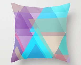 Decorative Pillow Cover- Violet Pillow Cover -Geometric Pillow Cover - Sky Blue Pillow Cover - Geo Print Pillow Cover -Lavender Pillow Cover
