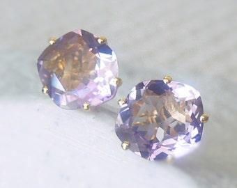 Purple Amethyst Faceted-cut Yellow Gold Vermeil Stud Earrings, Purple Amethyst Studs