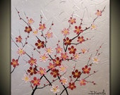"""Original Modern Art  Painting on Gallery wrapped Canvas 24"""" x 24"""", Home Decor, Wall Art ---Japanese Plum Blossoms---"""