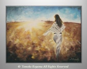 "Original Acrylic  Painting on  Gallery wrapped Canvas 24"" x 18""-- Chasing the Dream---- by Tomoko Koyama"