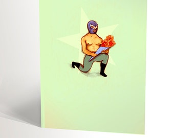 GREETING CARD illustration with lucha libre holding a flowers bouquet | mexican wrestling lovers  | funny card |  4,25'' X 5,5''