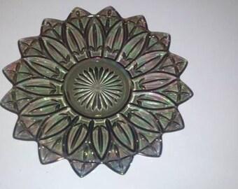 Smoke Grey Carnival Glass Platter