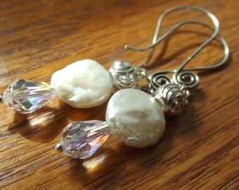 Sweet  Freshwater Pearl, Crystal, and Sterling Silver earrings