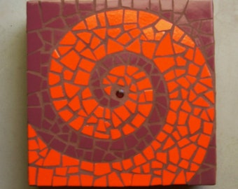 """Limited edition exterior mosaic, """"Passion Spiral"""", exterior garden stepping stone,abstract stepping stone,12"""" square, exterior tile"""